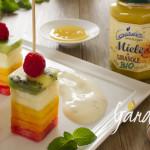 Apicoltura Gardin - Spiedini di frutta con crema al miele biologico di girasole